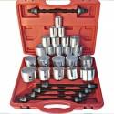 Guminių įvorių/sailentblokų, guolių įpresavimo - išpresavimo komplektas 22 indėklai ir 5 varžtai